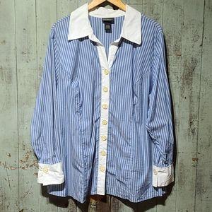 Lane Bryant striped button up blouse